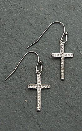 Montana Silversmiths Simple Rhinestone Cross Earrings