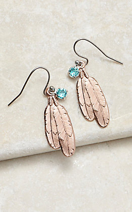 Montana Silversmiths Gift of Rose Gold Freedom Feather Earrings