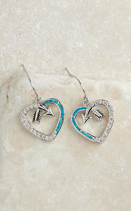 Montana Silversmiths Follow Your Arrow Opal Heart Earrings