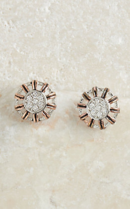 Montana Silversmiths Rose Gold Buck Stitch Pinwheel Post Earrings