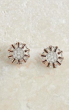 Montana Silversmiths Rose Gold Buck Stitch Pinwheel Post Earrings
