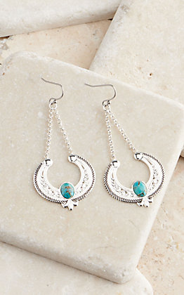 Montana Silversmiths Silver & Turquoise Hanging Reverse Squash Blossom Earrings