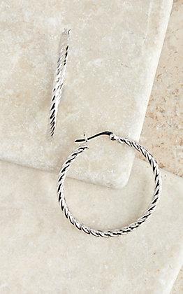 Montana Silversmiths Silver Roped Hoop Earrings