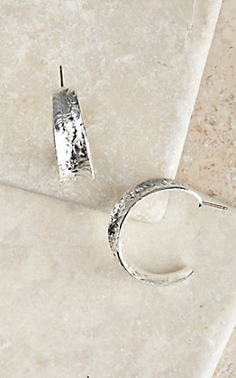 Montana Silversmiths Silver Glacier Saddle Bend Hoop Earrings