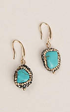 Grace & Emma Turquoise Rock with Gunmetal and Gold Rhinestone Accents Hook Earrings
