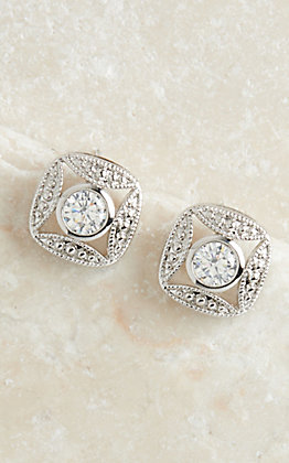 Montana Silversmiths Silver Square with Crystal Earring