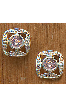 Montana Silversmiths Silver Bezel Set Square Pink Crystal Earrings