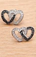 Montana Silversmiths Double Heart Black & Clear Crystal Earring