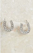 Montana Silversmiths Silver Small Crystal Horseshoe Earring