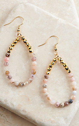 Laminin Estelle Gold and Multi-Pink Beaded Teardrop Earrings