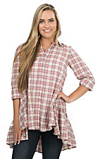 Easel Peach and Purple Plaid with Ruffled Hem Long Sleeve Tunic Fashion Top