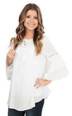 Easel Off White with Crochet Detailing and 3/4 Bell Sleeves Peasant Fashion Top