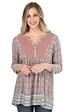 Easel Mauve, Coral, Black, and White with Red Floral Yokes 3/4 Sleeve Tunic Fashion Top