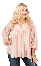 Easel Solid Blush with Pleating and Puffly Long Sleeves Peasant Fashion Top