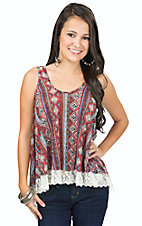 Vintage Havana Women's Red Mixed Print with Lace Hem Tank