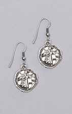 Laminin Everlasting Hammered Cross Coin Dangle Earring