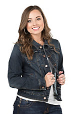 Earl Jean Women's Dark Wash Long Sleeve Denim Jacket