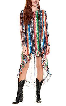 Lucky & Blessed Women's Serape Print Lace Long Sleeve High Low Dress