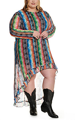 Lucky & Blessed Women's Serape Print Lace Long Sleeve High Low Dress - Plus Size