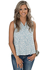 Velvet Heart Women's White Blue Paisley Print Denim Sleeveless Shirt