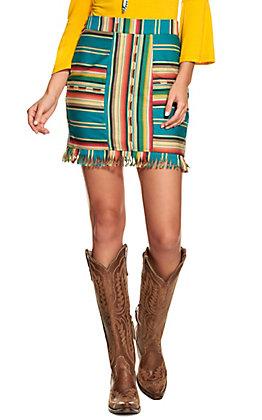 Lucky & Blessed Women's Teal Serape Fringe Skirt
