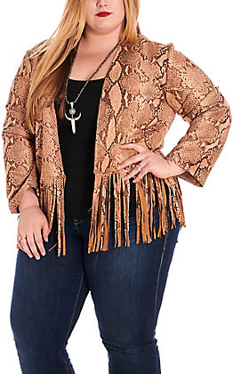 L&B Women's Tan Faux Suede Snake Print Fringe Long Sleeve Jacket - Plus Sizes
