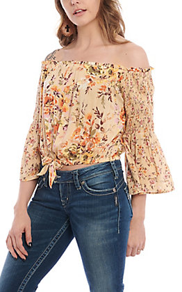 Angie Women's Beige Floral Off The Shoulder Tie Front Fashion Top