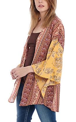 Angie Women's Mustard & Burgundy Mixed Print Kimono
