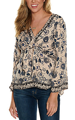 Angie Women's Ivory with Blue & Black Floral Print Knot Front Long Sleeve Fashion Top