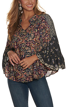 Angie Women's Navy with Floral Paisley Print V-Neck Flutter Sleeves Top