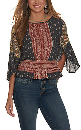Angie Women's Slate Grey with Rust Paisley Print Cap Sleeve Top