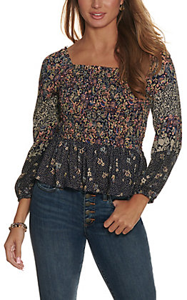 Angie Women's Navy with Floral Paisley Print Smocked Long Sleeves Top