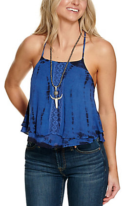 Angie Women's Blue & Black Tie Dye with Lace Sleeveless Cropped Swing Fashion Top