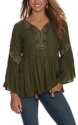 Angie Women's Olive Green with Floral Embroidery V-Neck Long Bell Sleeve Top