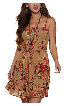 Angie Women's Taupe with Floral Print Smocked Sleeveless Dress