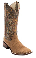 Ferrini Men's Honey Suede Gator Print w/Distressed Brown Top Double Welt Square Toe Western Boots