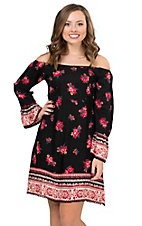 Angie Women's Black with Floral Print Cold Shoulder Long Bell Sleeve Dress