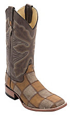 Ferrini Men's Honey/Brown Caiman Print Patchwork w/Distressed Brown Top Double Welt Square Toe Western Boots