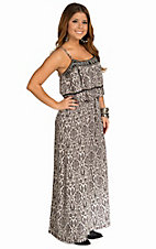 Angie Women's black and Ivory Embroidered Neckline Maxi Dress