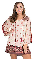 Angie Women's Cream with Gold, Black, and Burgundy Print 3/4 Bell Sleeve Dress