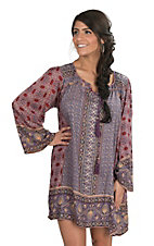Angie Women's Red and Purple Print Peasant Dress