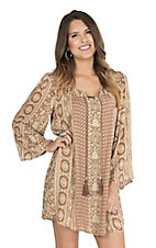 Angie Women's Tan Exotic Print with Tassel Tie Long Sleeve Dress