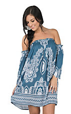 Angie Women's Blue Off The Shoulder Dress