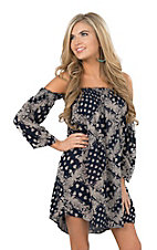 Angie Women's Navy Bandana Print Off The Shoulder Dress