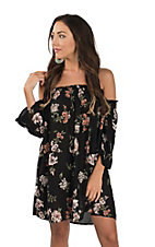 Angie Women's Black Floral Off The Shoulder Dress