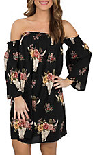 Angie Women's Black Steer Print Off the Shoulder Dress