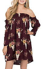 Angie Women's Maroon Steer Print Off the Shoulder Dress