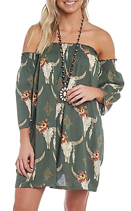 Angie Women's Olive Steer Print Off the Shoulder Dress