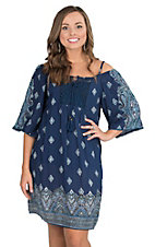 Angie Women's Navy with Teal and White Paisley Print Cold Shoulder 3/4 Sleeve Dress