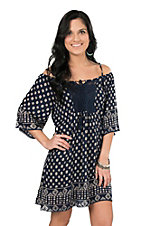 Angie Women's Navy Print Cold Shoulder Dress